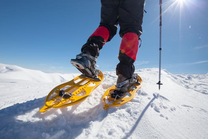 Schneeschuhwanderer mit Gamaschen