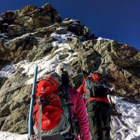 Eine Kletterpassage am Spinasgrat am Piz Palü